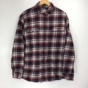 Jachs XL Shirt Button Down Front Flannel Red Black